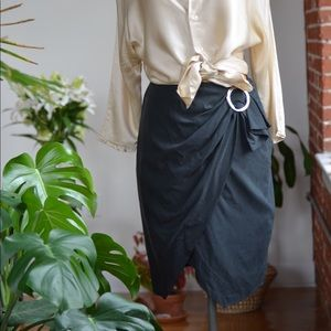 & Other Stories blk faux wrap belted zip skirt